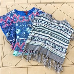 Justice Aztec Fringed Sweater & Arizona Poncho Top